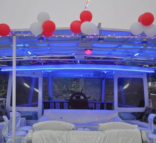 party on yacht on upper deck
